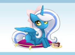Size: 1693x1240   Tagged: safe, artist:sugaryicecreammlp, oc, oc only, oc:fleurbelle, alicorn, pony, alicorn oc, bow, cake, female, food, hair bow, mare, pillow, solo