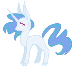 Size: 830x762 | Tagged: safe, artist:rowdykitty, princess celestia, pony, unicorn, blank flank, blue-mane celestia, female, freckles, mare, outline, race swap, simple background, solo, transparent background, unicorn celestia, younger