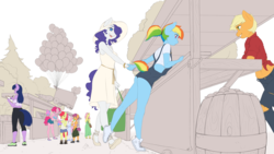 Size: 4800x2700 | Tagged: safe, artist:captainpudgemuffin, apple bloom, applejack, fluttershy, pinkie pie, rainbow dash, rarity, scootaloo, sweetie belle, twilight sparkle, earth pony, pegasus, unicorn, anthro, plantigrade anthro, alternate hairstyle, booth, clipboard, clothes, commission, cotton candy, cutie mark crusaders, female, filly, food, halter top, hat, holding hands, leaning, leaning forward, lesbian, mane six, mare, market, midriff, monochrome, ponytail, popsicle, purse, raridash, sandals, shipping, short hair, short tail, shorts, simple background, sketch, white background, wingless, wingless anthro, wip, writing