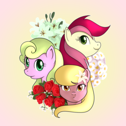 Size: 900x900 | Tagged: safe, artist:marikaefer, daisy, flower wishes, lily, lily valley, roseluck, pony, daisy (flower), flower, flower trio, lily (flower), rose