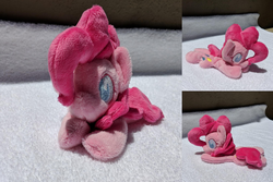 Size: 2382x1588 | Tagged: safe, artist:plushbyanto, pinkie pie, earth pony, pony, beanie (plushie), chibi, female, front view, irl, lying down, mare, minky, no mouth, no nostrils, no pupils, photo, plushie, profile, prone, solo, sploot, toy