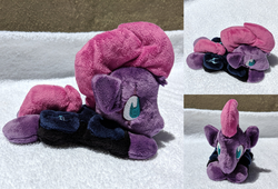 Size: 2341x1588 | Tagged: safe, artist:plushbyanto, tempest shadow, unicorn, my little pony: the movie, accessory, armor, beanie (plushie), broken horn, chibi, front view, horn, irl, lying down, minky, no mouth, no nostrils, no pupils, photo, plushie, profile, prone, solo, sploot, storm king's emblem, toy