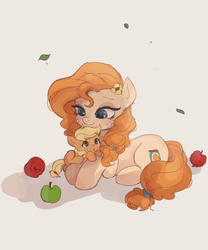 Size: 1411x1700 | Tagged: apple, applejack, artist:tcn1205, cute, daaaaaaaaaaaw, ear fluff, earth pony, female, filly, filly applejack, flower, flower in hair, food, jackabetes, mare, mom, mother and daughter, pearabetes, pear butter, pony, safe, weapons-grade cute, younger