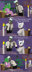 Size: 1920x4320 | Tagged: safe, artist:papadragon69, rarity, spike, thunderlane, anthro, 3d, candle, champagne, comic, female, kissing, male, old master q, older, older spike, parody, shipping, source filmmaker, sparity, straight, table, waiter