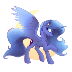 Size: 1000x1000 | Tagged: safe, artist:lollipony, princess luna, alicorn, pony, ethereal mane, female, flower, flower in hair, mare, moon, sideview, simple background, solo, spread wings, starry mane, transparent background, wings