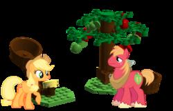Size: 800x515 | Tagged: safe, artist:anxet, artist:cm4s, artist:shelmo69, applejack, big macintosh, earth pony, pony, apple tree, catapult, lego, lego digital designer, tree