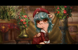 Size: 4000x2606 | Tagged: safe, artist:plotcore, cozy glow, pegasus, pony, clothes, cozybetes, cute, female, filly, flower, hat, indoors, shirt, solo, tanya degurechaff, youjo senki