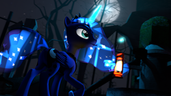 Size: 3840x2160 | Tagged: safe, artist:alicorntwilysparkle, princess luna, alicorn, pony, 3d, 4k, castle of the royal pony sisters, lantern, moon, ruins, solo, source filmmaker, tree