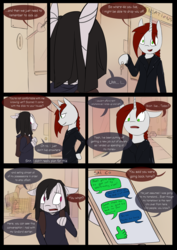 Size: 4961x7016 | Tagged: artist:tenenbris, comic, comic:things change, horn, magic, oc, oc:abel masei, oc:patricia sorg, safe, sex toy, store, telekinesis, unicorn, zebra, zebra oc