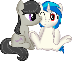 Size: 1001x843 | Tagged: artist:jakage, cute, daaaaaaaaaaaw, dj pon-3, earth pony, featureless crotch, female, hnnng, kissing, kiss on the cheek, lesbian, mare, octavia melody, one eye closed, pony, safe, scratchtavia, shipping, simple background, smiling, tavibetes, transparent background, unicorn, vector, vinylbetes, vinyl scratch, wrong eye color