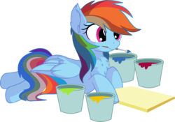 Size: 7910x5546   Tagged: safe, artist:cyanlightning, rainbow dash, pony, .svg available, absurd resolution, brush, bucket, canvas, chest fluff, cute, dashabetes, female, folded wings, mare, mouth hold, paint, paintbrush, prone, simple background, sitting, solo, transparent background, vector, wings