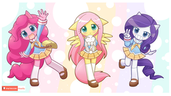 Size: 1920x1080 | Tagged: ambiguous facial structure, angel bunny, animal, anthro, artist:howxu, bag, blushing, clothes, cute, daaaaaaaaaaaw, diapinkes, earth pony, equestria girls, floppy ears, fluttershy, howxu is trying to murder us, looking at you, mary janes, moe, no nose, open mouth, patreon, patreon logo, peace sign, pegasus, pinkie pie, plantigrade anthro, pleated skirt, rabbit, raribetes, rarity, safe, sailor uniform, school uniform, shoes, shyabetes, skirt, smiling, socks, unicorn, uniform, weapons-grade cute