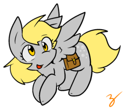 Size: 911x801 | Tagged: safe, artist:zutcha, derpy hooves, pegasus, pony, female, flying, mare, open mouth, outline, saddle bag, signature, simple background, solo, spread wings, transparent background, wings