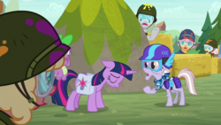 Size: 1920x1080 | Tagged: safe, screencap, dusty pages, spike, twilight sparkle, alicorn, dragon, earth pony, pony, the point of no return, bandana, female, floppy ears, goggles, hay bale, helmet, mare, raised hoof, saddle bag, twilight sparkle (alicorn), winged spike, wings