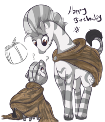 Size: 1280x1491 | Tagged: artist:bubbypones, cloak, clothes, duo, oc, oc only, present, question mark, safe, solo, zebra, zebra oc