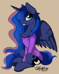 Size: 988x1244 | Tagged: safe, artist:arjinmoon, princess luna, alicorn, pony, chest fluff, clothes, cute, ear fluff, female, hair over one eye, horn, leg fluff, looking at you, lunabetes, mare, profile, shirt, sitting, smiling, solo, spread wings, tan background, underhoof, wings