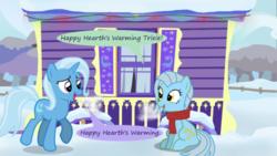 Size: 500x281 | Tagged: safe, artist:evil-dec0y, trixie, oc, earth pony, pony, unicorn, comic:trixie vs., comic:trixie vs. hearth's warming, duo