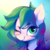 Size: 512x512   Tagged: safe, artist:lunarmarshmallow, oc, oc only, oc:dankflank, earth pony, pony, abstract background, bust, one eye closed, smiling, solo, wink