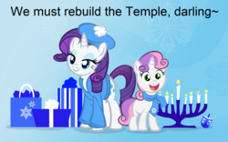 Size: 1755x1097 | Tagged: artist:pixelkitties, beret, clothes, dreidel, female, hanukkah, hat, jewnicorn, jew rarity, judaism, menorah, pony, present, rarity, safe, scarf, siblings, sisters, sweater, sweetie belle, text, unicorn