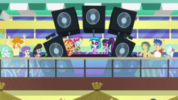 Size: 1280x720 | Tagged: safe, screencap, dj pon-3, flash sentry, lyra heartstrings, octavia melody, paisley, rainbow dash, sandalwood, sci-twi, starlight, sunset shimmer, twilight sparkle, valhallen, vinyl scratch, equestria girls, equestria girls series, i'm on a yacht, spoiler:eqg series (season 2), animation error, belly button, camp everfree outfits, clothes, feet, female, geode of empathy, geode of super speed, geode of telekinesis, glasses, legs, magical geodes, partial nudity, ponytail, sandals, shorts, smiling, swimsuit, topless