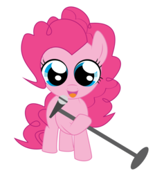 Size: 4343x4853   Tagged: safe, artist:fethur, pinkie pie, earth pony, pony, absurd resolution, female, filly, filly pinkie pie, hoof hold, microphone, simple background, solo, transparent background, younger