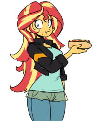 Size: 719x862 | Tagged: artist:reiduran, clothes, cute, eating, equestria girls, female, food, hot dog, hot dog nipples, human, jeans, meat, no pupils, pants, safe, sausage, shimmerbetes, simple background, solo, sunset shimmer, :t, white background