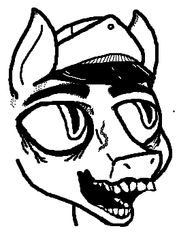Size: 263x367 | Tagged: artist:inkswell, bald, grayscale, happy, hat, monochrome, ms paint, safe, scar, simple background, slit eyes, teeth, white background