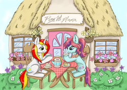 Size: 2917x2063 | Tagged: artist:joykittymeow, earth pony, oc, oc:qc, oc:taffy swirl, pony, safe, tea party, unicorn
