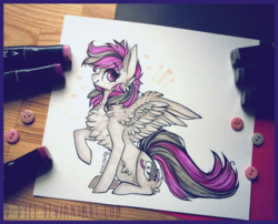 Size: 1437x1161 | Tagged: artist:d-dyee, chest fluff, female, mare, marker drawing, oc, oc only, pegasus, photo, pony, raised hoof, safe, simple background, sitting, smiling, solo, spread wings, traditional art, white background, wings
