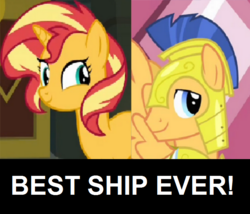 Size: 700x600 | Tagged: safe, flash sentry, sunset shimmer, pony, best ship, female, flashimmer, male, shipping, shipping domino, straight