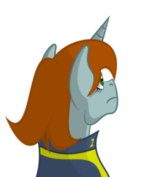 Size: 3000x3500 | Tagged: artist:alltimemine, bust, clothes, fallout equestria, fanfic, fanfic art, female, high res, horn, inkscape, mare, oc, oc:littlepip, oc only, pony, portrait, safe, simple background, solo, transparent background, unicorn, vault suit, vector