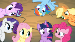 Size: 804x452 | Tagged: alicorn, applejack, fluttershy, mane six, on back, overhead view, pinkie pie, pony, rainbow dash, rarity, safe, screencap, starlight glimmer, the mean 6, twilight sparkle, twilight sparkle (alicorn)