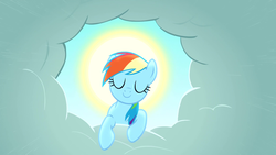 Size: 1920x1080   Tagged: safe, screencap, rainbow dash, pegasus, pony, the ticket master, cloud, eyes closed, female, halo, mare, smiling, solo, sun, wallpaper
