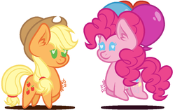 Size: 948x594 | Tagged: safe, artist:catalie21, applejack, pinkie pie, earth pony, pony, balloon, chibi, cute, diapinkes, duo, ear fluff, female, floating, heart, heart eyes, jackabetes, mare, shadow, simple background, smiling, then watch her balloons lift her up to the sky, white background, wingding eyes