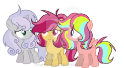 Size: 600x332 | Tagged: safe, artist:thesmall-artist, oc, oc only, earth pony, pegasus, pony, unicorn, deviantart watermark, female, filly, obtrusive watermark, offspring, parent:apple bloom, parent:chipcutter, parent:rainbow harmony, parent:scootaloo, parent:tender taps, parents:chipbelle, parents:tenderbloom, simple background, transparent background, watermark