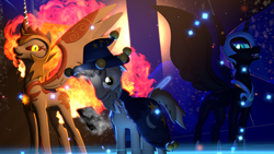 Size: 3840x2160 | Tagged: 3d, artist:twilighlot, daybreaker, fire, live wallpaper, magic, nightmare moon, particles, pony, safe, source filmmaker, starswirl's book, star swirl the bearded