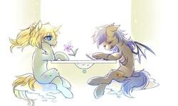 Size: 1280x768   Tagged: safe, artist:swaybat, oc, oc:bar, oc:diamonody, bat pony, pony, unicorn, duo, flower, pen