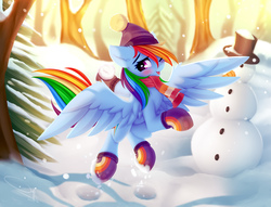 Size: 4722x3599 | Tagged: safe, artist:omi, rainbow dash, pegasus, pony, art pack:winter warm up, absurd resolution, blushing, clothes, cute, dashabetes, female, happy, one eye closed, scarf, snow, snowman, solo, winter, winter outfit