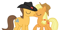 Size: 1147x584 | Tagged: safe, artist:3d4d, applejack, caramel, pony, base used, carajack, female, kissing, male, shipping, straight