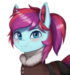 Size: 2057x2231 | Tagged: artist:mrscroup, blushing, clothes, coat, cute, ear fluff, earth pony, equestria at war mod, oc, oc only, oc:taffy swirl, pony, safe, scarf, simple background, transparent background