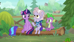 Size: 1920x1080 | Tagged: safe, screencap, dusty pages, spike, twilight sparkle, alicorn, dragon, earth pony, pony, the point of no return, bandana, female, helmet, log, male, mare, sitting, trio, twilight sparkle (alicorn), winged spike, wings