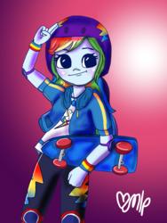 Size: 1536x2048 | Tagged: safe, artist:drawmlploveartlol, rainbow dash, equestria girls, equestria girls series, sic skateboard, spoiler:eqg series (season 2), female, geode of super speed, magical geodes, skateboard