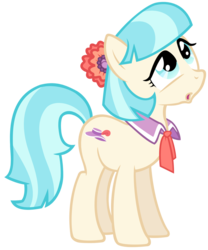 Size: 1024x1231 | Tagged: safe, artist:nascarcatcar, coco pommel, earth pony, pony, :o, confused, female, flower, flower in hair, looking up, mare, open mouth, simple background, solo, transparent background, vector