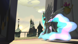 Size: 1920x1080 | Tagged: 3d, artist:d0ntst0pme, balcony, canterlot, glowing mane, glowing tail, gmod, not sfm, princess celestia, safe, sunrise