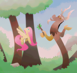 Size: 1536x1469 | Tagged: safe, artist:ben-del, discord, fluttershy, draconequus, pegasus, pony, discoshy, female, looking at each other, male, outdoors, shipping, straight