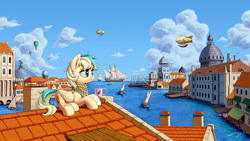 Size: 2500x1407 | Tagged: safe, artist:1jaz, oc, oc only, oc:sun light, pegasus, pony, airship, bandaid, bandana, blaze (coat marking), boat, building, canal, city, cityscape, cloud, coat markings, commission, facial markings, hot air balloon, ocean, pier, roof, rooftop, scenery, scenery porn, ship, sky, solo focus, steampunk, steeple, venice, water
