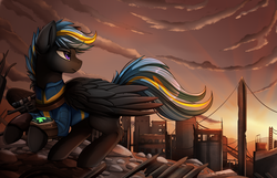 Size: 3209x2068 | Tagged: artist:pridark, city, clothes, commission, fallout equestria, fanfic art, male, oc, oc only, oc:tornado turbulence, pegasus, pipbuck, pony, safe, scenery, scenery porn, vault suit