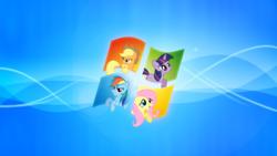 Size: 1920x1080 | Tagged: safe, artist:lilcinnamon, artist:mindnomad, artist:narkohunt, artist:piranhaplant1, artist:rox159th, applejack, fluttershy, rainbow dash, twilight sparkle, earth pony, pegasus, pony, unicorn, desktop, desktop background, desktop wallpaper, female, mare, microsoft, vector, wallpaper, windows, windows 7, windows xp
