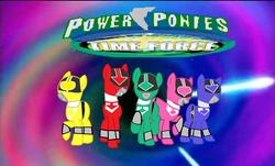 Size: 1433x868   Tagged: safe, artist:cam-and-sister-paint, pony, blue ranger, green ranger, mirai sentai timeranger, pink ranger, power rangers, power rangers time force, red ranger, yellow ranger
