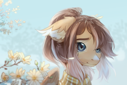 Size: 3580x2388 | Tagged: safe, artist:aphphphphp, oc, oc only, pegasus, pony, clothes, ear fluff, female, flower, mare, pollen, ponytail, scarf, slit eyes, slit pupils, smiling, solo